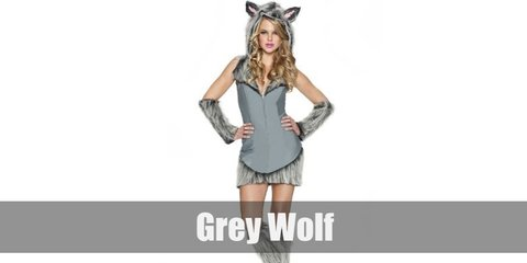 Grey wolf costume is composed of a grey mini dress with fringes on the hem. It has a wolf hood with fur, as well as fuzzy leg and arm warmers. Complete the look with grey strap heels.