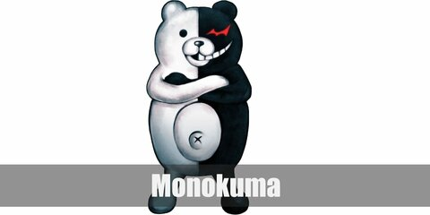 Monokuma's costume is dual in nature to signify his dual personality, and it compromises of half white of everything and half black of everything else.
