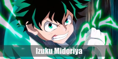 Izuku Midoriya wears a green tracksuit with white lining, black elbow and knee pads, and a red belt or fanny pack. He also has white gloves. To complete his outfit, he has a pair of red high-top sneakers. His hair is dark green, so cop a wig of the same color. .
