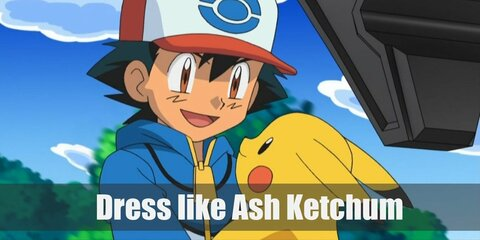 Ash Ketchum costume is blue jeans, sneakers, green shirt shirt under and blue and white sporty style button-up shirt.