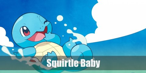 a baby Squirtle costume is an easy task because both Squirtles and babies are adorable. You will need a light blue hoodie, a cream onesie, some brown fabric, and stuffing.
