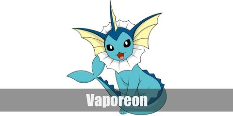 Vaporeon costume is like an Eevee with a mermaid's tale and fin-like ears. You can dress up as a Vaporeon with a blue dress and white ruffle collar.