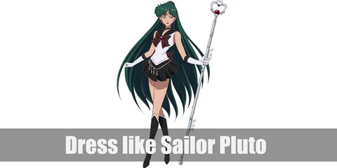 Sailor Pluto costume consists of white top and dark skirt. Her top has a maroon ribbon at the front and back. She also wears  gloves, a belt with keys, and boots. To complete her look, wear a dark colored choker, forehead jewel, large earrings, and long green wig. Carry a sceptre, too