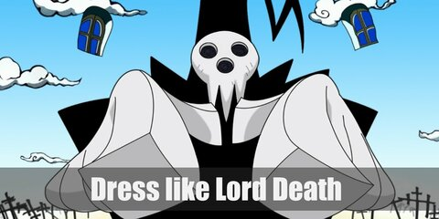 Lord Death costume is black cloak and hat with extra twist and scythe as his weapon.