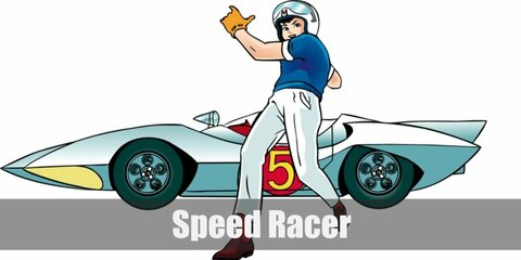 Speed Racer's costume is a blue shirt, white pants, red socks, red shoes, yellow gloves, a white helmet with a letter 'M' on top. Trixie's costume is a pink sleeveless top with a letter 'M', red pants, pink shoes, and a yellow hair bow.