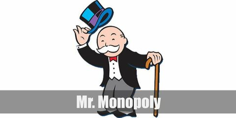 Mr. Monopoly's costume is a white dress shirt with a black suit, a top hat, and a black cane. Don't forget his twirly, white moustache!