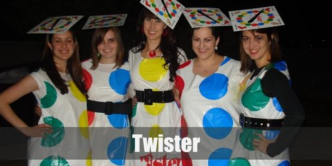 Looking like a Twister board is easy. All you need is to wear all white (white shirt, white pants, etc.) and paste different color circles over your outfit.