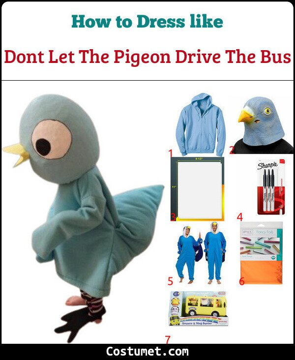 Dont Let The Pigeon Drive The Bus Costume for Cosplay & Halloween