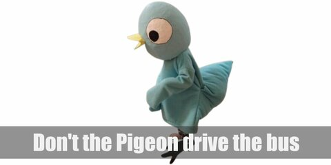 Don't let the Pigeon drive the bus costume is a blue hoodie decorated with large pigeon eye stickers. You can also carry a toy bus!