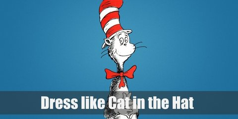 The Cat in the Hat is an anthropomorphic black and white cat who wears a red and white-striped tall hat, a red bow, and white gloves.
