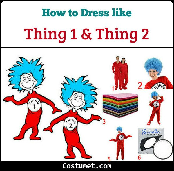 Thing One Thing Two Costume for Cosplay & Halloween
