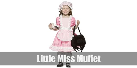 Little Miss Muffet costume is a pink dress, a white apron with spider on it, pink socks with white polka dots, a pink flower hair pin, and blue shoes.