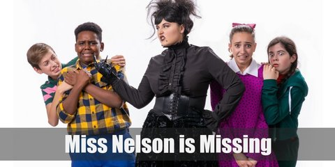 Miss Nelson's costume is a pink dress, white leggings, and a blonde wig. Viola Swamp's costume is a black dress, neon green striped leggings, and a curly, black wig.