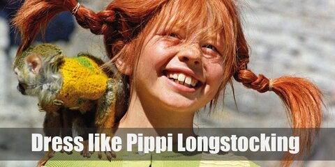 A typical outfit for Pippi Longstocking would be a pinafore dress, long stockings, boots, and t-shirt, and often times a pirate hat in memory of her father.