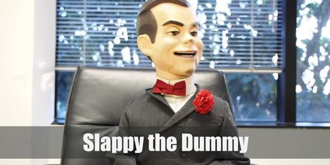 Slappy the Dummy costume is black suit and red bowtie, but after applying his makeup you'll find out why he's creepy.