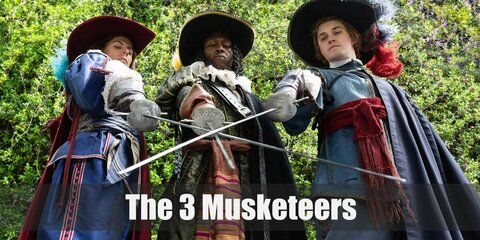 The Three Musketeers costume is a long-sleeved shirt and brown pants. Keep it close to the original with a blue cloth over the shirt. Complete the costume with gloves and tricorn hat fit for a musketeer!