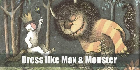 Max's pure-white wolf onesie and golden crown is an adorkable outfit that matches perfectly with the Monster's hilarious yellow-orange striped fur and scaly legs