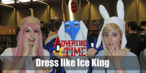 Ice King has long white beard, a gold royal crown, and a long blue robe.