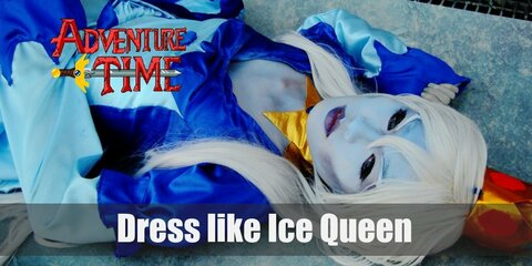 Ice Queen also wears a blue long sleeved princess gown with a pair of blue shoes, a gold necklace, and a tiara.