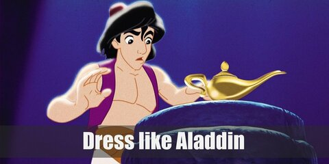 Aladdin wore simple clothes when he was just a beggar on the streets. He prefers a purple vest, a pair of patched-up white harem pants, and a cool red fez.