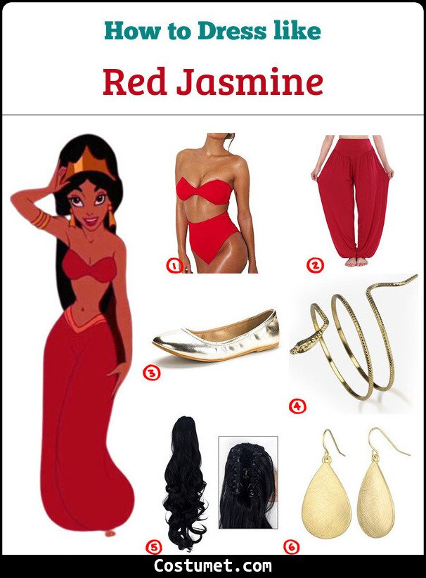 The Red Princess Jasmine From Disney S Aladdin Costume For Cosplay