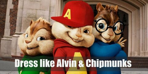 Alvin wears a red sweater with an 'A' written on it and a red cap, Simon wears a blue sweater and black-rimmed glasses, and Theodore wears a green sweater.