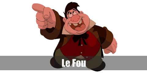 Le Fou costume is a white dress shirt underneath a red vest, green pants, and a brown coat.