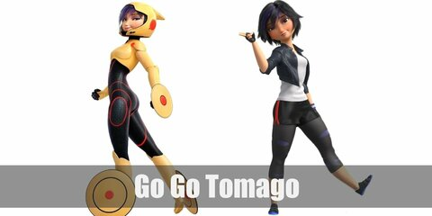 Go Go Tomago's costume is her casual, edgy everyday look and her black and yellow superhero look. Go Go loves going fast.