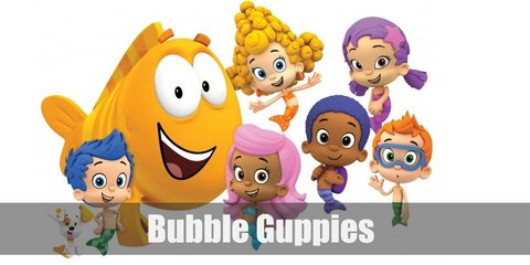 Bubble Guppies costume is having different colored hair and tails.
