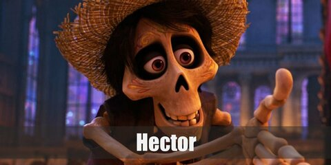 Hector's costume is a skeleton suit, a purple button-down shirt, brown pants, a red scarf, and a straw hat.