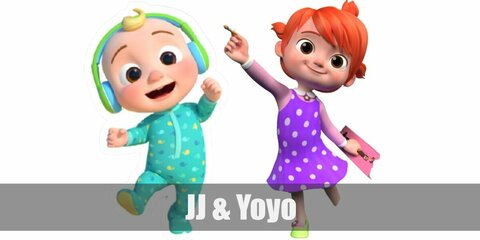 JJ's costume includes a green onesie while Yoyo's costume consists of a purple dress with long sleeves. She also has orange hair!