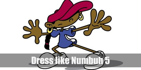 Numbuh 5's outfit is a simple blue t-shirt dress, white slip-on shoes, a red beret, and gold hoop earrings.