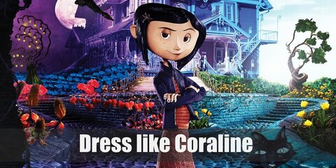 Coraline has a cute fashion style. Coraline wears a yellow raincoat, blue pants, yellow boots, and a cute little dragonfly clip on her hair.