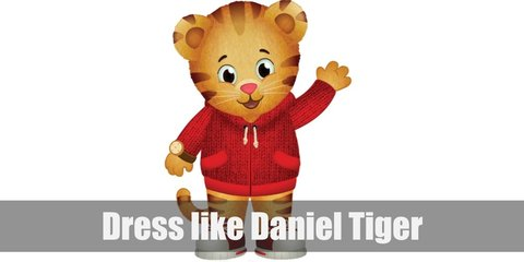 Daniel is inspired by how Mister Rogers look. His outfit consists of a comfortable, red, hooded jacket and red sneakers.