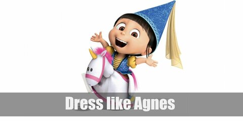 Agnes is known for her cute little girl outfit. She has on a yellow striped shirt, blue overalls, and white sneakers. Her hair is tied in a very high ponytail with the use of a red hair tie and she is most known for loving unicorns, so a unicorn plushie is a must!