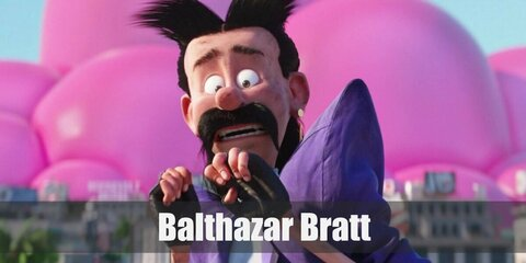 Balthazar Bratt's costume is made of a purple suit and pants. He also wears a pair of fingerless gloves and white shoes. Complete his costume with a mullet wig as well as a fake mustache.