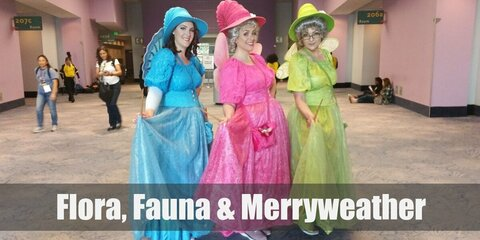 Flora, Fauna, and Merryweathers's costumes are similar medieval-styled dresses of varying colors: red, green, and blue.