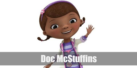 Doc McStuffin's costume is a striped purple shirt, a pink skirt, purple leggings, purple sneakers, and a white doctor's coat.