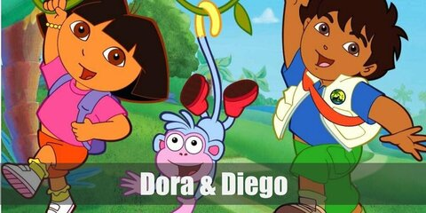 Dora the Explorer's outfit is super well-known! It hasn't changed that much in more than a decade. She wears a purple shirt, an orange pair of shorts, yellow socks, and a pair of white sneakers.