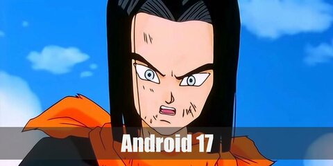 Android 17's costume features a long-sleeved shirt under a black shirt styled with a yellow neckerchief. He pairs his top with a blue pair of pants, green leg warmers, and a pair of high-top sneakers.