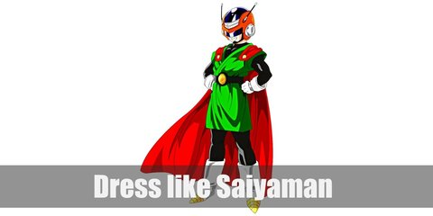 Gohan's Saiayaman persona wears a green gi over black overalls, red cape, a black belt with a golden center, and white boots with yellow toe cap. He also wears a helmet and white gloves.