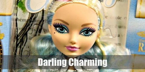 Darling Charming cosutme is a light blue quarter-sleeved top with shoulder gear and armor corset. Sha paired this with a blue skirt, leggings, and grey boots. She has a necklace and metallic bracelets. Her hair is blonde with blue streaks.