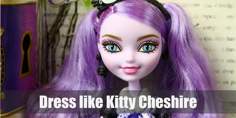 Kitty Chesire costume is a purple dress with black lace, purple-striped leggings, black ankle boots, and cool black lace gloves. She also has light purple hair with a black headband.