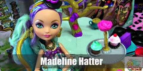 Madeline Hatter wears a purple and gold dress, a blue bow belt, green gloves, a green necklace and gold earrings, a purple tea cup top hat, white high stockings with blue dots, and white high heels.