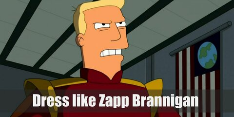 Zapp Brannigan is usually seen in a red captain uniform which looks a lot like a short dress with long sleeves and a black belt. He also wears long plain white gloves and white boots.