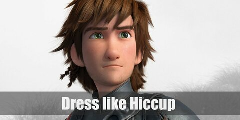 Hiccup's outfit is composed of mostly leather and it looks definitely manlier on him. He wears a black vest, olive green pants, and lots of other leather straps with buckles all over.