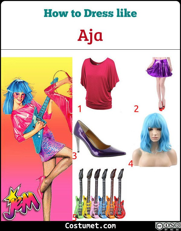 Aja Jem And The Holograms Costume for Cosplay & Halloween