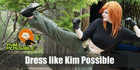 Kim Possible has a very memorable look and features. She wears a black midriff-bearing mock turtleneck, dark gloves, tan/green cargo pants, a utility belt, and black shoes.