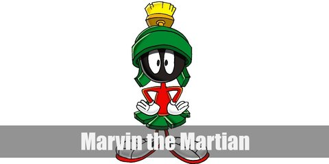 To recreate Marvin the Martian's costume, be sure to get a cap or green helmet inspired by his design. Then wear red long sleeves and pants and add green cloth as a skirt. Wear white gloves and sneakers.