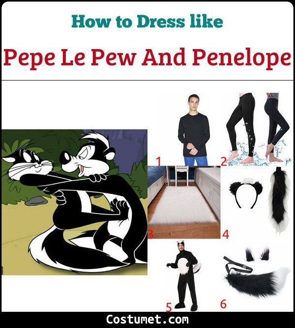 Pepe Le Pew And Penelope Costume for Cosplay & Halloween